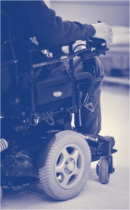 Man in power wheelchair