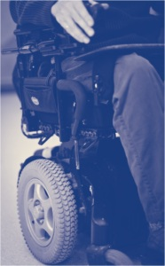 Man using power chair
