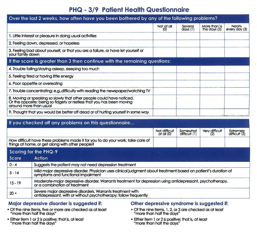 Picture of PHQ - 3/9 Patient Health Questionnaire